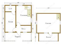 Дом из бруса 6х8 (Д18)