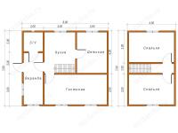 Дом из бруса 7х8 (Д25)