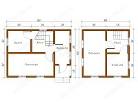 Дом из бруса 6х8 (Д51)