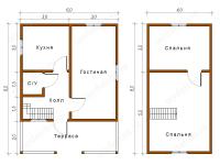 Дом из бруса 6х8 (Д53)