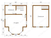 Дом из бруса 6х8 (Д54)