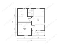 Дом из бруса 7,8х7,8 (Д41)