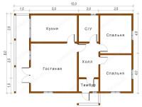 Дом из бруса 8х12 (Юта)