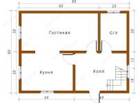Дом из бруса 6х8 (ДУ24)
