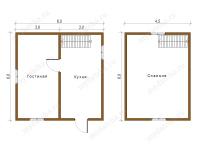 Дом из бруса 6х6 (ДУ20)