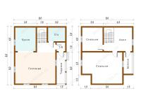 Дом из бруса 8х9 (ДУ28)