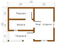Баня из бруса 4х5,5 (Б12)