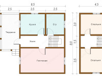 Дом из бруса 8х8,5 (ДУ33)