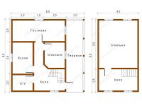 Дом из бруса 8х8 (Флинт)
