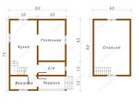 Дом из бруса 6х8 (Пеория)