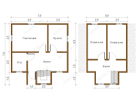 Дом из бруса 6х7 (Юджин)