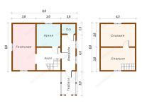 Дом из бруса 6х8 (Д16)