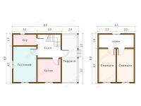 Дом из бруса 6х8 (Д67)